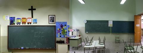 En el colegio público pucelano Macías Picavea no sólo se han eliminado los crucifijos, sino también la foto del Rey